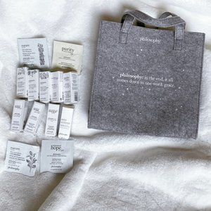 NEW Philosophy Felt Tote with Skincare Bundle